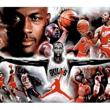 Hot Sale Wall Sticker of Jordan Wings Collage Vintage Sports Poster 50x76cm Unframe Fr