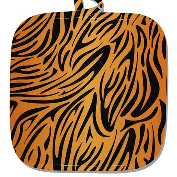 Tiger Print White Fabric Pot Holder Hot Pad All Over Print