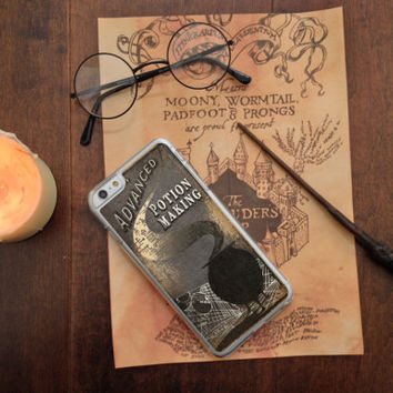 Harry Potter Inspired Advanced Potion Making and other Text Books, Custom Phone Case for iPhone 4/4s, 5/5s, 6/6s, 6/6s+, and iPod Touch 5