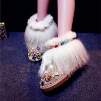 Fashion Suede Leather Women Short Snow Boots Luxury Rhinestone Flat Dress Shoes Woman New Winter Fringe Fur Ankle Booties Botas