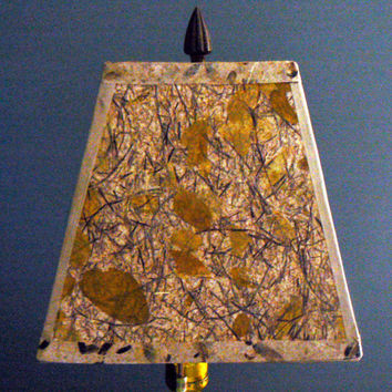 Artisan Paper Square Lamp Shade, Natural Papers with Embedded Plants