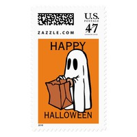 White Ghost with a Trick or Treat Bag Stamp