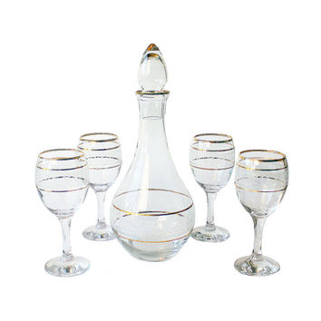 Wine Decanter Set, White Gold Decanter, White Wine Glasses