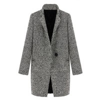 ZLYC Women Winter Wool Blend Lapel Plaid Trench Wool Cashmere Long Parka Coat