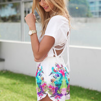 SABO SKIRT  Tropical Bird Shorts - Tropical Bird Print - 42.0000