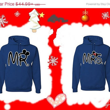 Valentine Sale Mr. and Mrs. Disney Matching Couples Hoodies Sweatshirts in Blue. Personalize by adding name or date