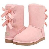 UGG Bow Leather Shoes Boots Winter In Tube Boots Shoes