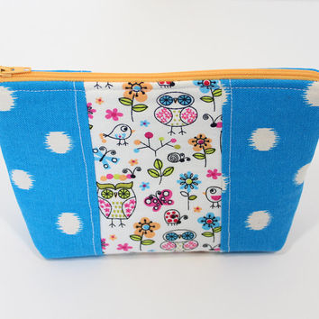 Makeup Bag Cosmetic Case  Accessory Pouch Blue Polka Dot Pouch with Owl Center Accent