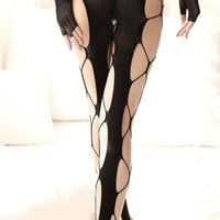 Black Fish Net Stocking Design 173