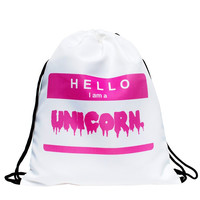 Drawstring lettering hello Bag in pink pattern in color for Cinch bagpack