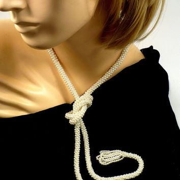 CIJ SALE Long White Pearl Sautoir, 55 Inches Long, White Glass Pearls, Vintage Flapper Necklace Downton Abbey Style Victorian Revival