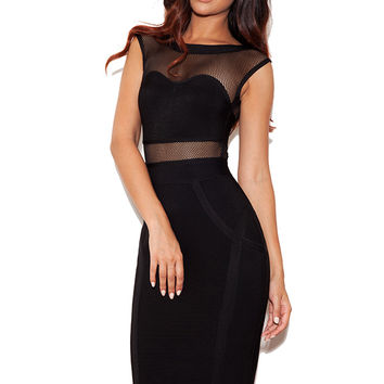 Clothing : Bandage Dresses : 'Riya' Black Mesh and Bandage Dress