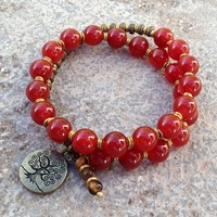 Stability, Genuine Carnelian Gemstone 27 Bead Mala Wrap Bracelet with Tree Of Life Charm