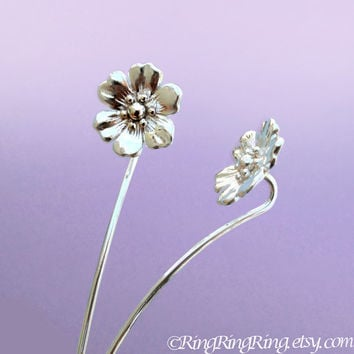 Long Stem Anemone Flower Earrings, Sterling Silver Post Stud Earrings, Unique Gift Floral Jewelry For Her