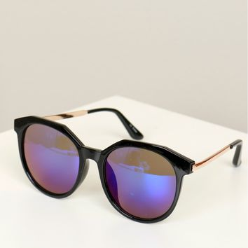 Thick Round Mirrored Sunglasses Blue