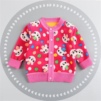New casual baby sweater boys girls autumn plus thick velvet cardigan sweaters Infant cartoon kids warm sweater