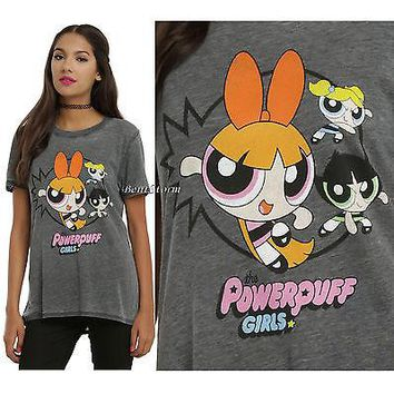 "Licensed cool NEW The Powerpuff Girls Trio Grey distressed ""Punch"" Tee T-Shirt Juniors S-XL"