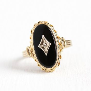 Vintage Onyx Ring - Retro 14k Yellow Gold Black Gemstone & Genuine Diamond Statement - 1950s Size 6 1/2 Oval Gem Mid Century Fine Jewelry