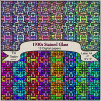 30s Stained Glass Digital Papers 16 Jewel Bright Backgrounds for  Scrapbooks Card Making  Wrapping Paper Crafts