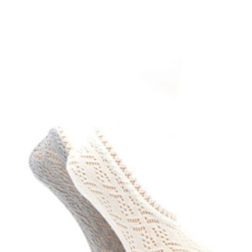Pointelle Knit No-Show Socks