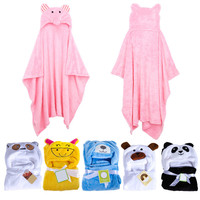 Hot Selling ! Cute Animal Panda Flannel Cartoon Baby Kid's Hooded Bath Towel Toddler Blankets 6 Animals with Hook for Optional