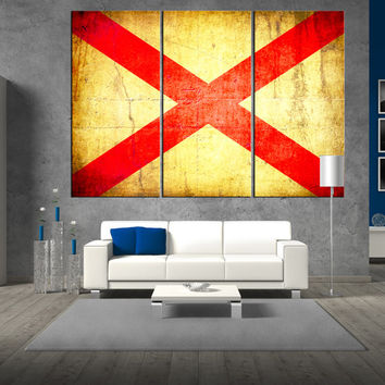 Large Alabama state flag canvas Print wall art, Alabama flag, large flag wall art print giclee extra large wall art canvas t334