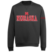 Nebraska Cornhuskers Doubleshot V-Notch Fleece Crew Sweatshirt - Charcoal