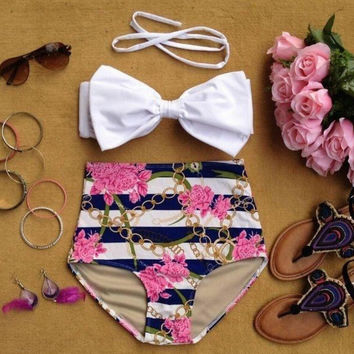 Hight Waist Holiday Bow swimwear Set Swimsuit Summer Gift 157