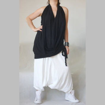 XXL XXXL Harem Pants Cotton Jersey Plus Size Sarouel Pants Drop Crotch Wide Leg Trousers Loose Wide Leg Harem Skirt Pants