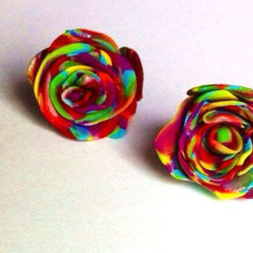 Handmade Rainbow Multicolor Rose Stud Earrings