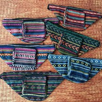 Ethnic Tribal Fanny pack bum bag Boho pattern fabric belt belly festival Pouch Travel cycling phanny waist Hippies Bohemian men women green