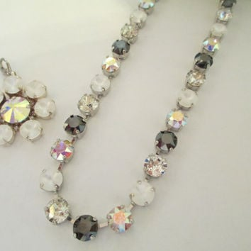 BLACK TIE FORMAL swarovski crystal necklace. black jet, aurora borealis, matte crystal. bridal, bridesmaid. s and l  bling