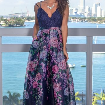 Navy Floral Maxi Dress with Embroidered Top