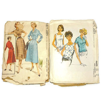 Two Vintage McCall's Dress Pattern Blouse 3618 4605 Size 16 Bust 34 Bust 36 1950's Retro Clothes Pattern