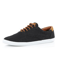 River Island MensBlack denim lace up plimsolls