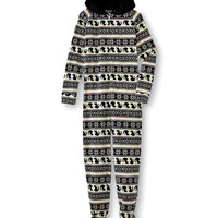 Cat Hooded Women's One-Piece Footie Pajamas