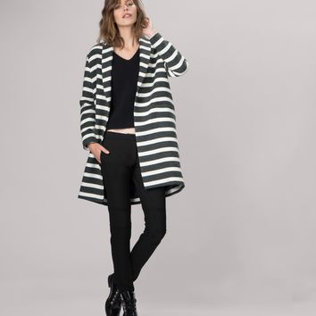 maje GOELETTE Striped wool coat at Maje US