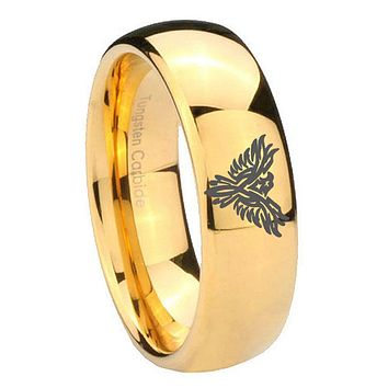 8MM Mirror Dome Phoenix 14K Gold IP Tungsten Carbide Laser Engraved Ring