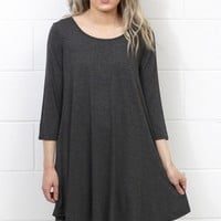 Long Sleeve Loose Fit Swing Dress w/ Pockets {Charcoal}