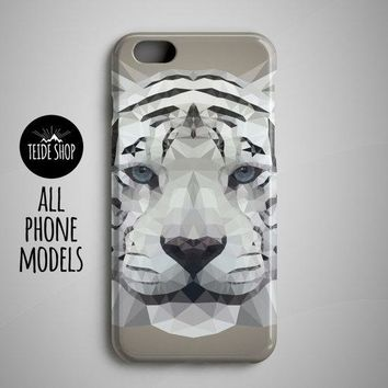 Geometric White Tiger iPhone 8 Plus, 8, SE, 7, 6S, 7 Plus, 6S Plus Case
