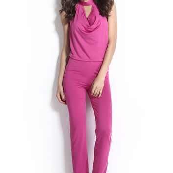 Chicloth Halter Cowl Neck Backless Jumpsuit