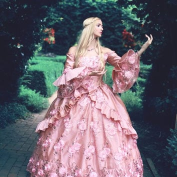 Dusty Rose Floral Sparkle Fantasy Marie Antoinette Princess Carnicale Gown Small/medium