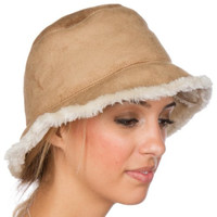 CL2190 - Womens Vintage Style Suede Cloche Bucket Winter Hat with Faux Fur Lining (3 Colors) - Camel/One Size