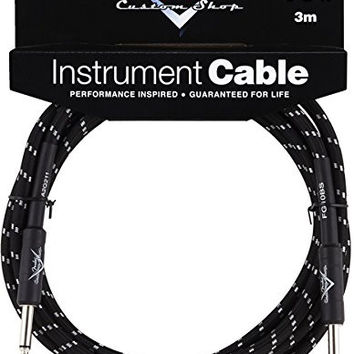 Fender Custom Shop Performance Series Cable (Straight-Straight Angle) for electric guitar bass guitar electric mandolin pro audio Black 10'