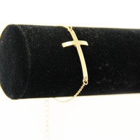 Gold Curved Cross Bracelet