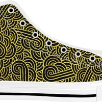 Faux gold and black swirls doodles White High Tops