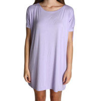 Lilac Piko Tunic Short Sleeve Dress