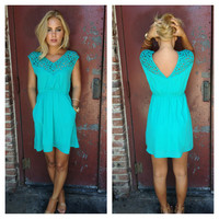 Teal Cut out Carley Dress with Pockets