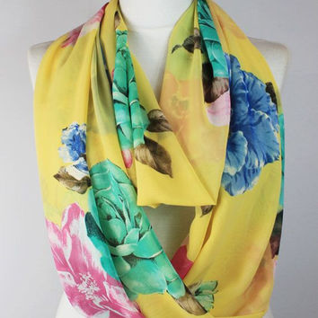 yellow flowers infinity scarf, scarf, scarves, long scarf, loop scarf, gift
