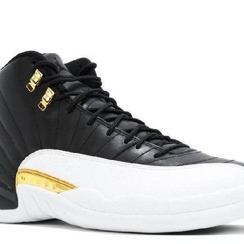 PEAPN Ready Stock Nike Air Jordan 12 Retro Wings Black Metallic Gold White Basketball Sport Shoes